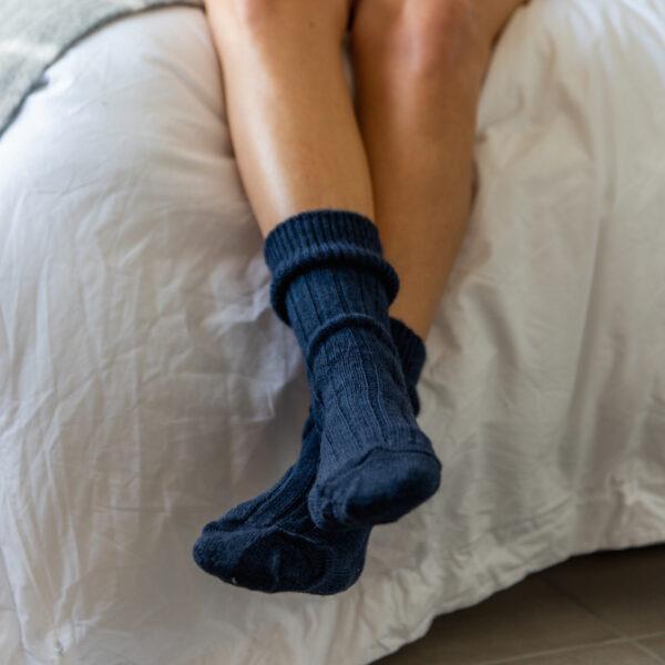 Navy Alpaca bed socks