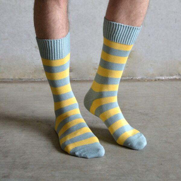 Cotton stripes – Yellow & Grey