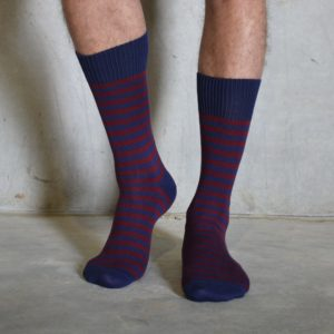 Burgundy & Navy cotton socks
