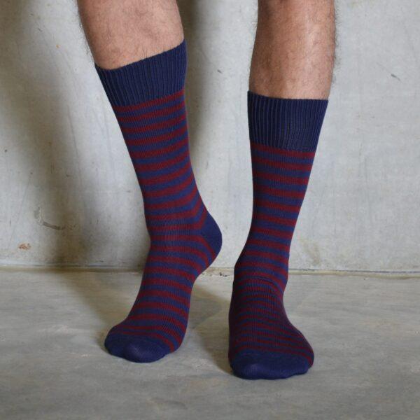 Burgundy & Navy cotton socks