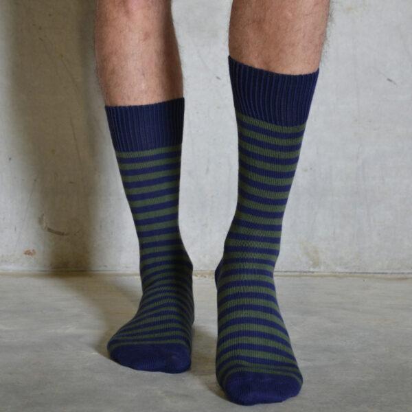 Olive & Navy cotton socks