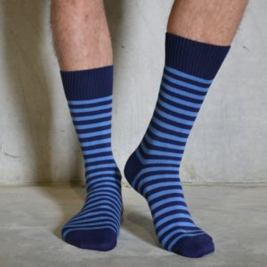 Cornflower & Navy cotton socks