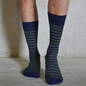 Olive & Navy cotton socks