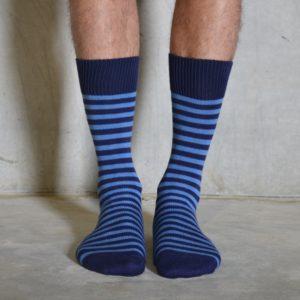 Cornflower & Navy cotton socks