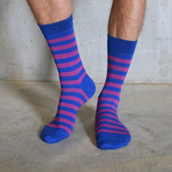 Stripes! Royal Blue & Pink
