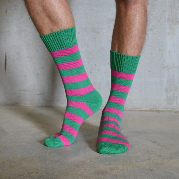Cotton Stripes – Pink & Green