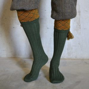 Belvoir Shooting socks – Green & Gold