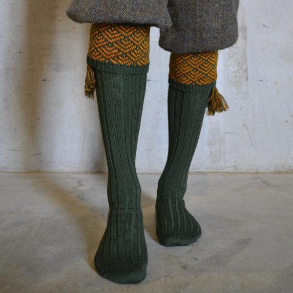 Belvoir Shooting socks – Green & Gold