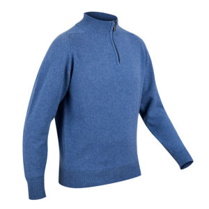 Mens Zip Neck Jumper – Blue