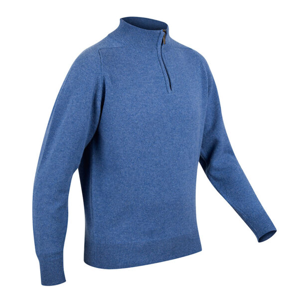 Mens Zip Neck Jumper – Blue