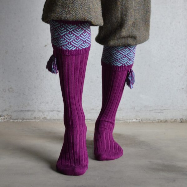 Belvoir shooting socks – Bilberry & mint