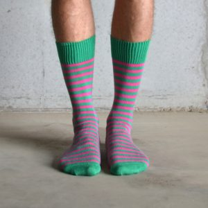 Green & Pink cotton socks