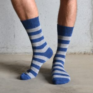 Navy & Grey Stripe Alpaca socks