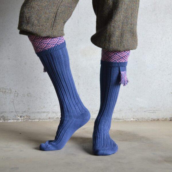 Belvoir shooting socks – Blue & Pink