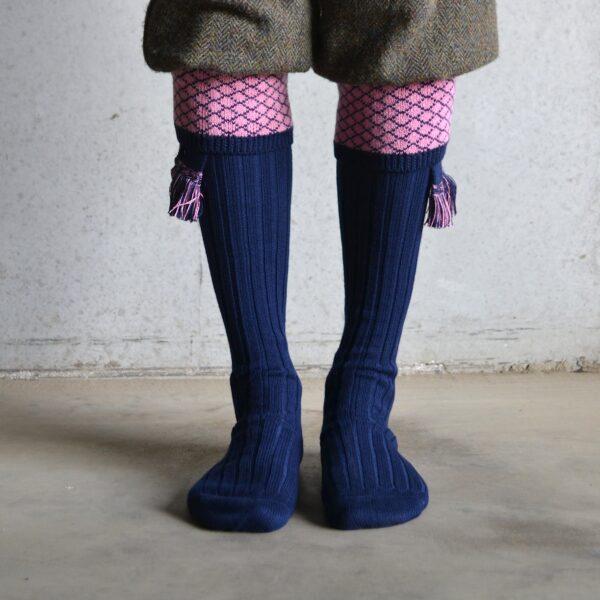 Oakham Shooting socks – Navy & Pink