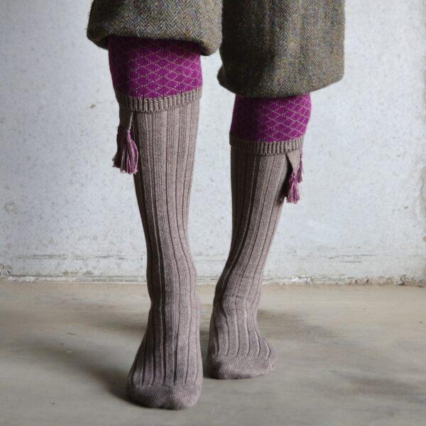 Oakham Shooting socks – Fawn & Bilberry