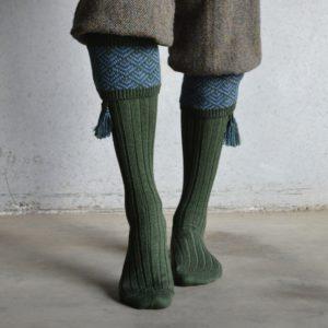 Belvoir shooting socks – Green & Blue