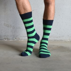Cotton Stripes – Green & Dark Navy
