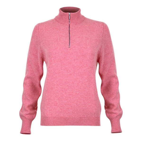 Ladies zip neck jumper – pink