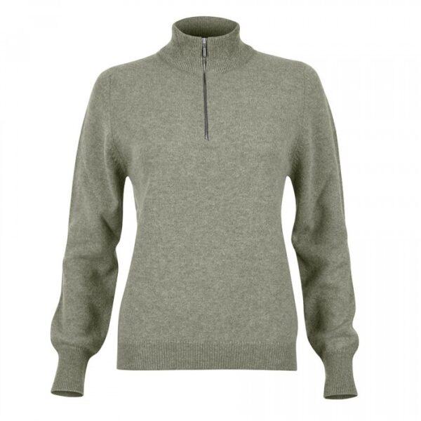 Ladies Zip neck jumper – Sage