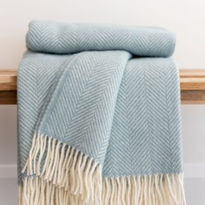 Herringbone Throw – Duck Egg