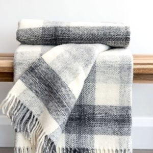 Grey Check Throw
