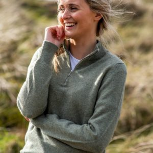 Ladies Zip neck jumper – Sage