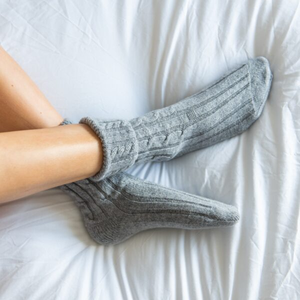 Cable knit Cashmere Bed Socks – Grey