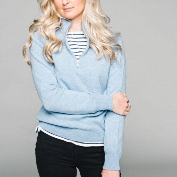 Ladies zip neck jumper – Blue