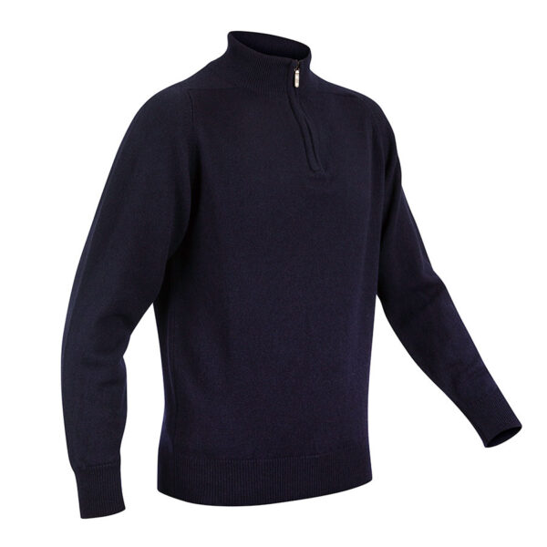 Mens Zip Neck jumper – Navy