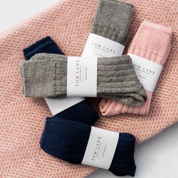 Grey Alpaca Bed socks Box