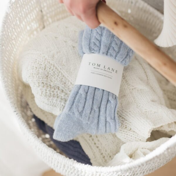 Cable knit Cashmere Bed Socks – Blue