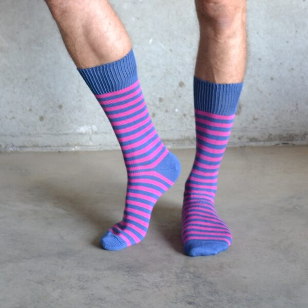 Blue & pink cotton socks