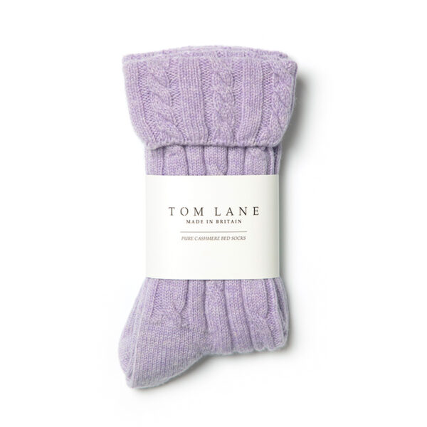 Cable knit Cashmere Bed Socks – Lilac