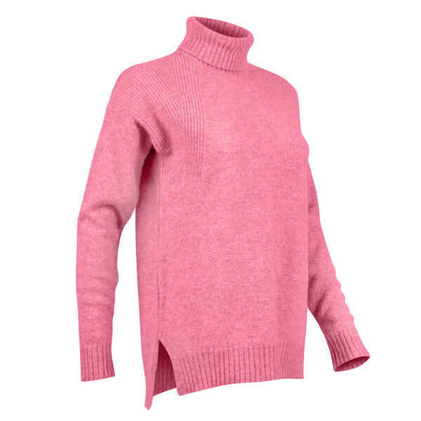 The Lambswool Roll Neck – Pink
