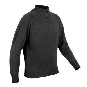 Mens zip neck jumper – Charcoal