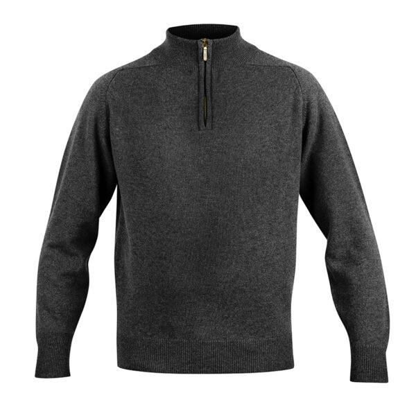 Mens zip neck jumper – Charcoal