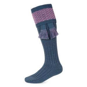 Oakham shooting socks – Blue & Heather