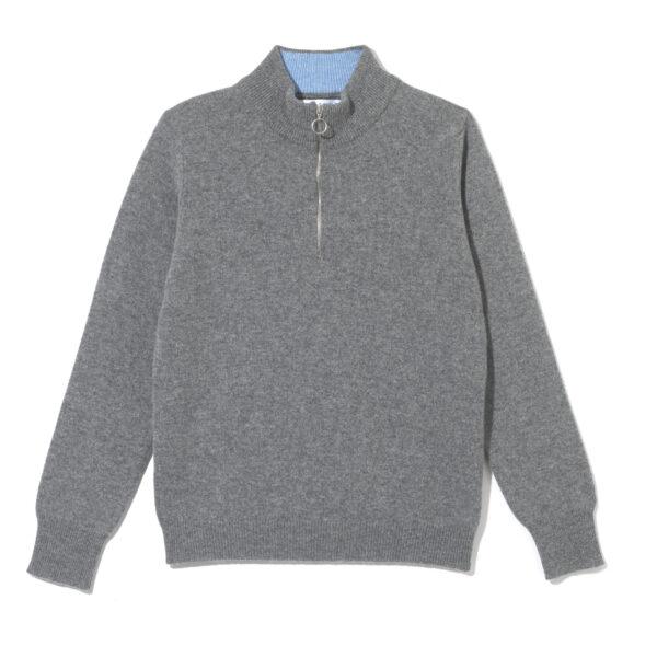 Ladies zip neck jumper – Grey