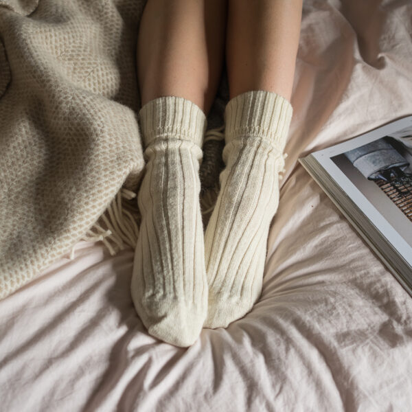 Cream Alpaca bed socks
