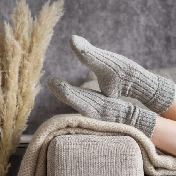 Grey Alpaca bed socks