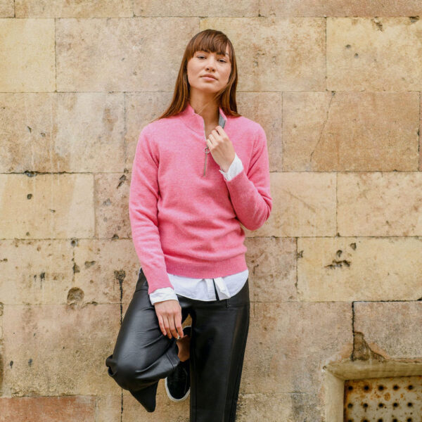 Ladies zip neck jumper – pink